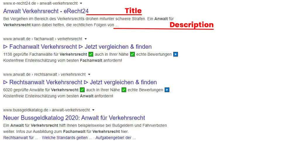 Darstellung Snippets bei Google