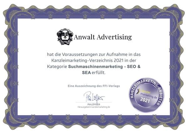Zertifikat für Suchmaschinenmarketing Anwalt Advertising Agentur
