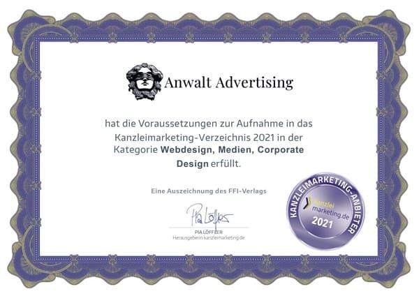Zertifikat für Webdesign Anwalt Advertising Agentur
